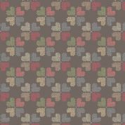Lewis & Irene Threaded With Love - 5083 - Cross Stitch Hearts on Charcoal - A183.3 - Cotton Fabric